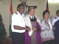Commissioner Dr. Lalkiamlova,  I S; TSA, UK, Getting Conferred With Doctorate Degree By Dr. Madhu Krishan, Chairman AUGP at TSA HQ, Chennai