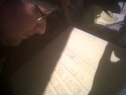 James marking out letters