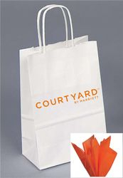 "Gift Bags with Rope Handle - Unique foil-stamped Courtyard by Marriott logo - Includes ORANGE tissue paper with every gift bag! - 8.25""H x 5.00""W x 3.50"""