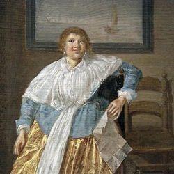 Dirck Hals, Woman with a Letter, detail, Philadelphia
