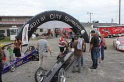 Dragsters on display