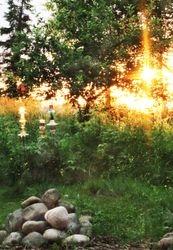 Beautiful sunset lights up Julie's stacked glass sculptures