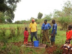 A finished water station in use.