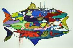 SHHAARRKKSS Oil an Acrylic on Canvas, 36 x 24 , $350