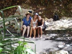 Jan, Ann and Annette paddling in a sulphur spring