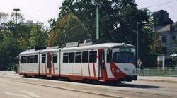 Duewag Tram in Oberrheinsiche Eisenbahn Gesellschaft Livery.