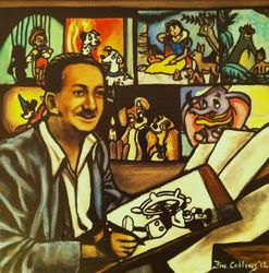 """Walt Disney"",pictured with ""Dumbo"", ""Mickey Mouse"", ""snow white and the seven dwarf""s"", ""Lady and the tramp"" ""Pinocchio"",     ""101 Dalmations"", ""The Jungle Book"", ""Fantasia"", ""Lady and the tramp"" ""Pinocchio"",  ""101  Dalmations"",""Producer"", ""Artist"","
