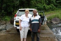 Lynda with local clan chief on Fiji