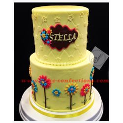 Yellow Floral Baby Shower Cake