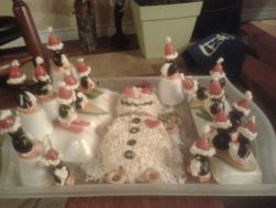 Olive pequins and cheese snowman