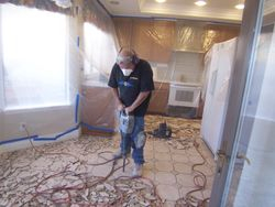 Tile removal Kitchen, Plastic first