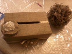 Burlap Gift Box and Burlap Pom Pom