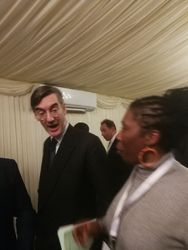 Sandra discussing something with Rees Mogg