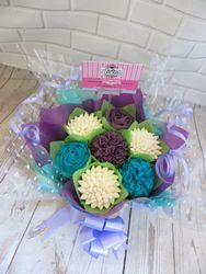 white, blue and purple cupcake bouquet