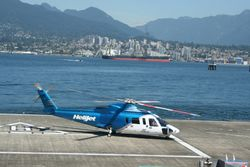 Helijet Terminal, Downtown Vancouver with Oil Tanker in background!