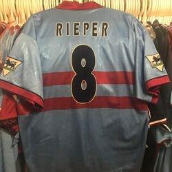 Marc Rieper well worn 1995/96 away shirt