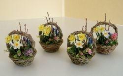 Spring flower baskets