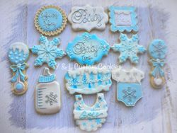 Baby Shower Custom Cookies Winter Wonderland Theme