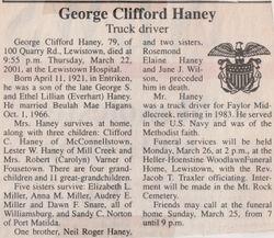 Haney, George Clifford 2001