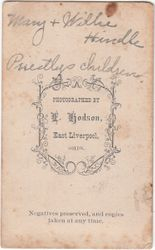 L. Hodson, photographer of East Liverpool, OH - back