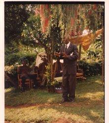 Charles Orange preaching the word, in Kenya
