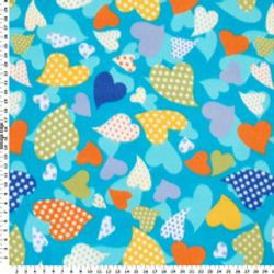 Hearts on Blue FLEECE B56