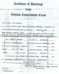 Carl F. Houston Discharge Paper - Page 1