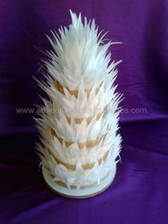 5 tier wedding cake Spikey Feathers made from edible rice paper