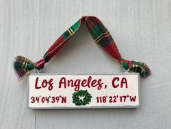 Hometown wooden ornament