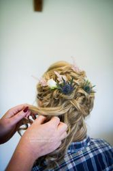 Hair by Jules using thistles and flowers