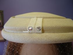 Vintage Creme with Veil & Rhinestones Close Up
