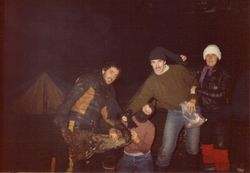 1982 Alpine Rally @ Perkins Flat - Kevin Wallace, Robyn Wallace, (on her knees), Tony Ramond and Linda Kidd