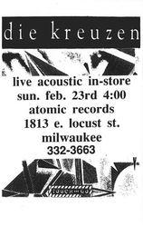 1992-02-23 Atomic Records, Milwaukee, WI