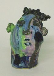 Mary Jones Ceramics.  Picking blackberries in the rain.  SOLD