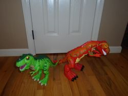 Fisher Price Motorized Roaring T-Rex Dinosaur and Another T-Rex - $35