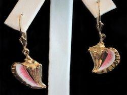 Enamel conch 14k earrings