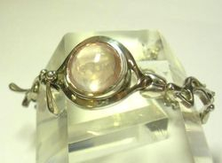 09-00130b Rose Quartz Faceted Sterling Link Bracelet