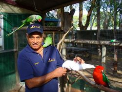 Geoff with his fine feathered friends