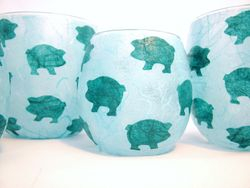 Pale Blue and Teal Pigs