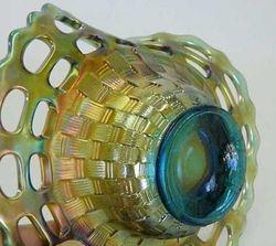 Open Edge Basket, ruffled shape, large size, aqua
