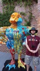 Metal sculpture at a resturant in Blacksburg