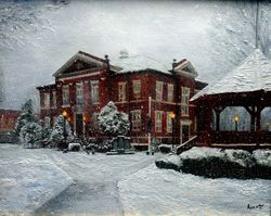 Harrison Courthouse Snow Scene