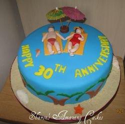 CAKE 02ANNIV -Beach-themed Anniversary Cake