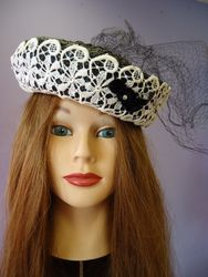 Vintage Black Straw & Lace with Netting Pill Box Style