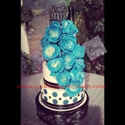 Teal, Black, and White Wedding Cake