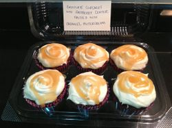 Chocolate Cupcakes with Raspberry Center Forsted with Caramel Buttercream