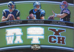 2010 Topps Triple Threads Sam Bradford Jimmie Clausen Colt McCoy 3X Jersey #8/9 Rookie