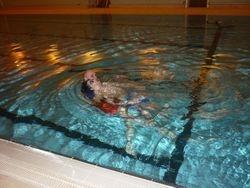 Ian towing James through the water