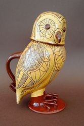 "Lidded Owl Jug 10"" tall"