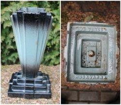 Art Deco stiliaus spizine, ketaus vaza. Kaina 72